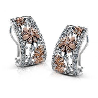 Simon G. DE215 White and Rose Gold Diamond Flower Earrings for Women