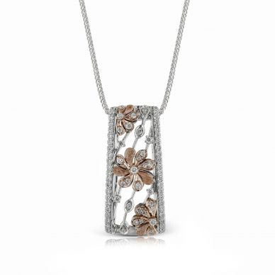 Simon G. DP212 White and Rose Gold Diamond Flower Pendant Necklace for Women