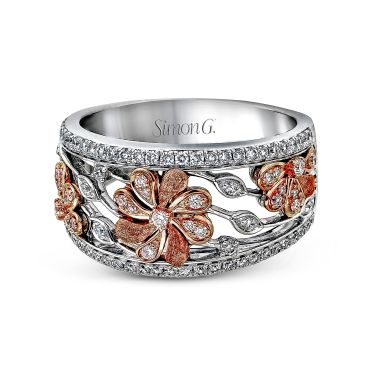 Simon G. DR312 White and Rose Gold Diamond Flower Pendant Ring for Women