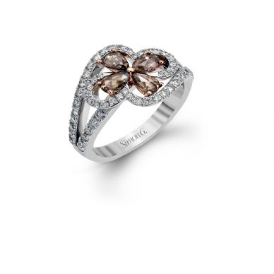Simon G. DR347 White and Rose Gold Brown Diamond Flower Ring for Women