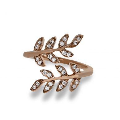 Simon G. LP2309-A Rose Gold Open Diamond Leaf Ring for Women