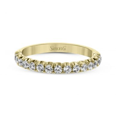 Simon G. LP2346 Yellow Gold Unique Pave Diamond Wedding Ring for Women