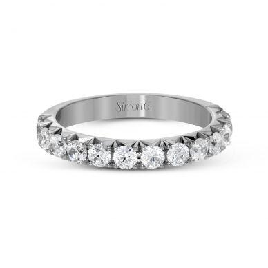 Simon G. LP2350 White Gold Unique Diamond Pave Wedding Ring for Women
