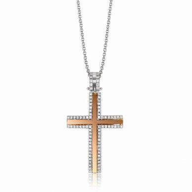 Simon G. LP4430 White and Rose Gold Diamond Cross Pendant Necklace for Women