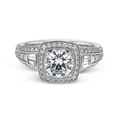 Simon G LR1155 White Gold Round Cut Engagement Ring
