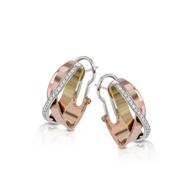 Simon G. ME1900 White, Yellow, and Rose Gold Modern Tri-Tone Diamond Earrings for Women