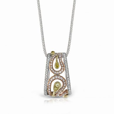Simon G. MP1478 White, Yellow, and Rose Gold Unique Diamond Pendant Necklace for Women