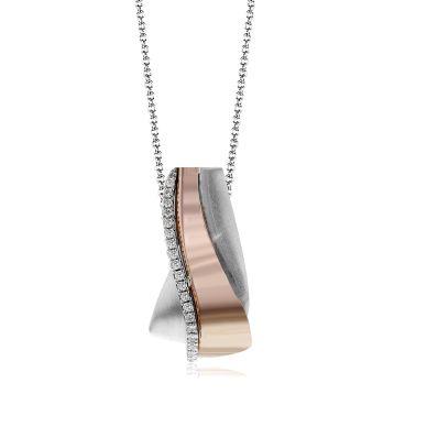 Simon G. MP1877 White and Rose Gold Modern Diamond Pendant Necklace for Women