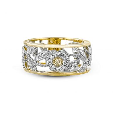 Simon G. MR1000 White and Yellow Gold Diamond Flower Ring for Women