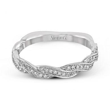Simon G. MR1498-B Platinum Twist Band Wedding Ring for Women