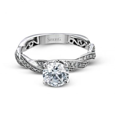 Simon G MR1498 White Gold Round Cut Engagement Ring