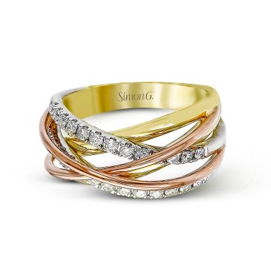 Simon G. MR1854 White, Yellow, and Rose Gold Diamond Twist Ring for Women