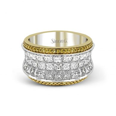 Simon G. MR1902 White and yellow Gold Multi-Row Pink Diamond Statement Ring for Women