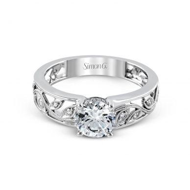 Simon G MR2100 Platinum Round Cut Engagement Ring