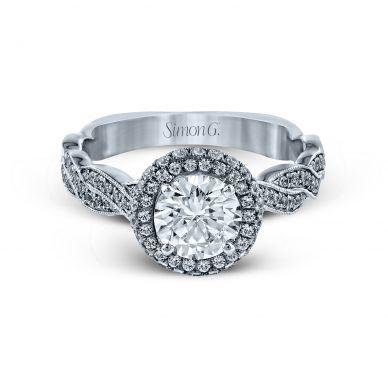 Simon G MR2133 White Gold Round Cut Engagement Ring