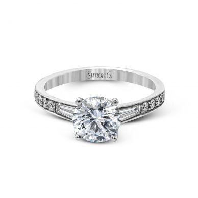 Simon G MR2219 White Gold Round Cut Engagement Ring