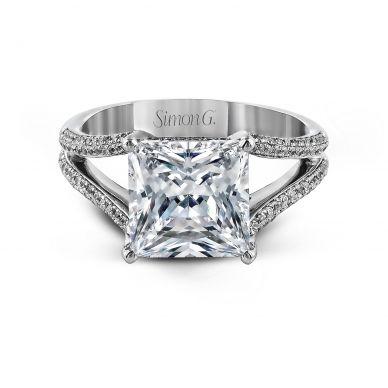 Simon G MR2257 White Gold Princess Cut Engagement Ring