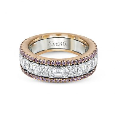Simon G. MR2338 White and Rose Gold Multi-Row-Pink-Diamond Ring for Women