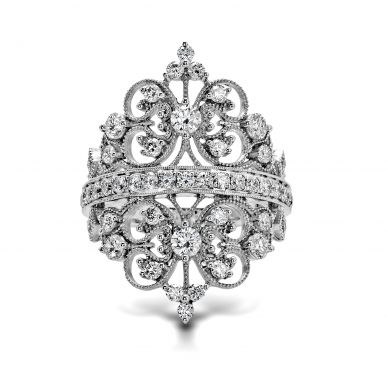 Simon G. MR2389 White Gold Diamond Crown Ring for Women