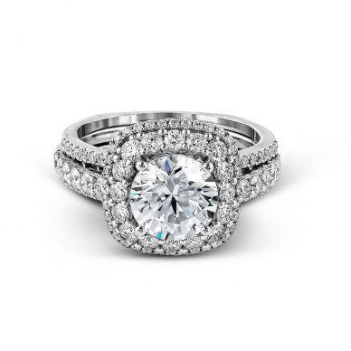 Simon G MR2434 White Gold Round Cut Engagement Ring