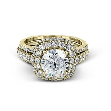 Simon G MR2434 Yellow Gold Round Cut Engagement Ring