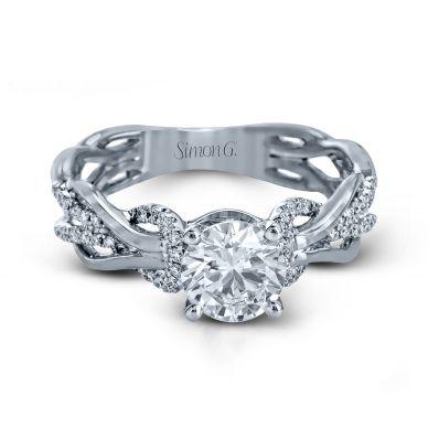 Simon G MR2514 White Gold Round Cut Engagement Ring