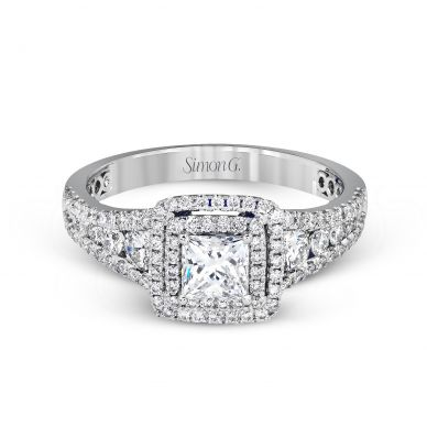 Simon G MR2589 White Gold Princess Cut Engagement Ring