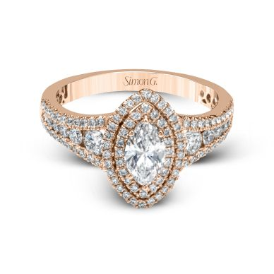 Simon G MR2591 Rose Gold Marquise Cut Engagement Ring