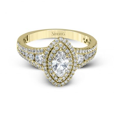 Simon G MR2591 Yellow Gold Marquise Cut Engagement Ring