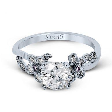 Simon G MR2615 White Gold Round Cut Engagement Ring
