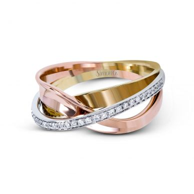 Simon G. MR2629 White, Yellow, and Rose Gold Tri-Tone Diamond Twist Ring for Women