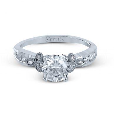 Simon G MR2646 White Gold Round Cut Engagement Ring