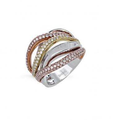 Simon G. MR2652 White, Yellow, and Rose Gold Tri-Tone Diamond Statement Ring for Women