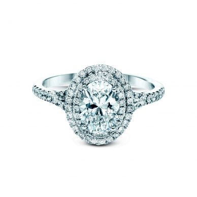 Simon G MR2884 White Gold Oval Cut Engagement Ring