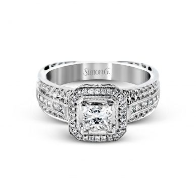 Simon G NR454 White Gold Princess Cut Engagement Ring
