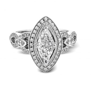 Simon G TR601 Platinum Marquise Cut Engagement Ring