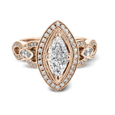 Simon G TR601 Rose Gold Marquise Cut Engagement Ring