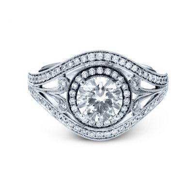Simon G TR628 White Gold Round Cut Engagement Ring