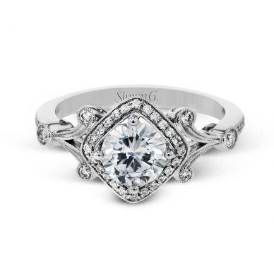 Simon G TR656 Platinum Round Cut Engagement Ring