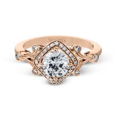 Simon G TR656 Rose Gold Round Cut Engagement Ring