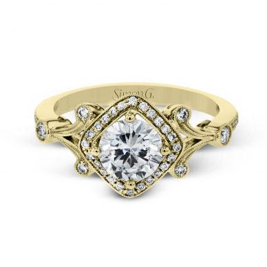 Simon G TR656 Yellow Gold Round Cut Engagement Ring