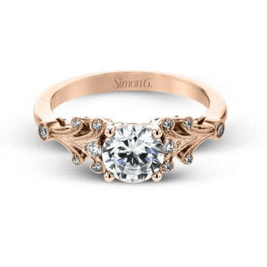 Simon G TR667 Rose Gold Round Cut Engagement Ring