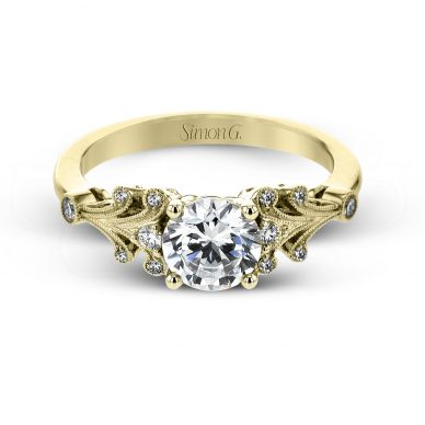 Simon G TR667 Yellow Gold Round Cut Engagement Ring