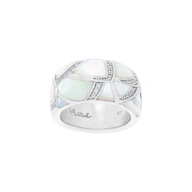 Belle Etoile Sirena Mother of Pearl and Cubic Zirconia Sterling Silver Ring 01-03-16-2-02-01