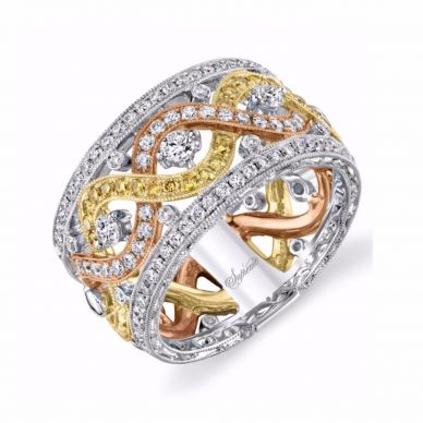 Unique Yellow Gold Diamond Floral Band