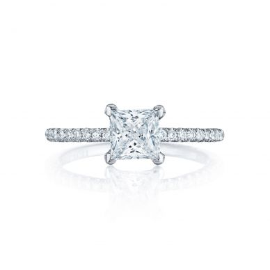 Tacori HT254515PR Petite Crescent White Gold Princess Cut Engagement Ring