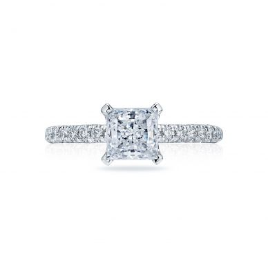 Tacori HT2545PR6 Petite Crescent Platinum Princess Cut Engagement Ring