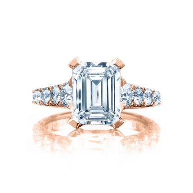 Tacori HT2623EC10X8-PK RoyalT Rose Gold Emerald Cut Engagement Ring