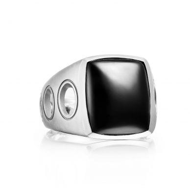 MR10519 Men's Silver Black Onyx Fashion Ring