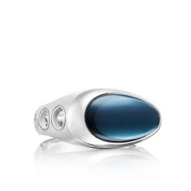 MR10837 Men's Silver Sky Blue Topaz Fashion Ring